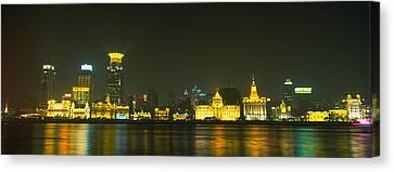 Bund Shanghai Canvas Print - Buildings Lit Up At Night, The Bund by Panoramic Images