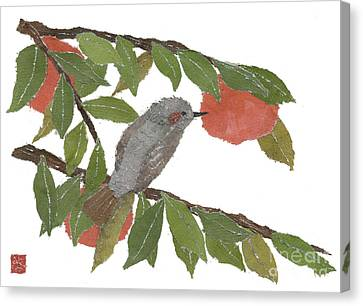 Bulbul And Persimmon  Canvas Print by Keiko Suzuki