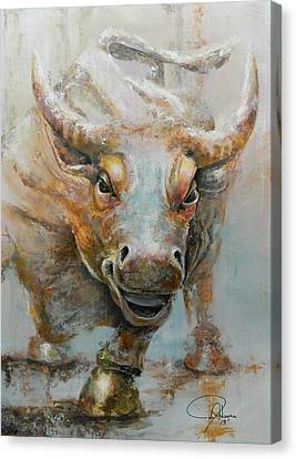 Animal Abstract Canvas Print - Bull Market W Redo by John Henne