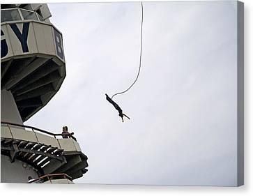 Bungee Jumping From The Pier In Scheveningen Netherlands Canvas Print by Ronald Jansen