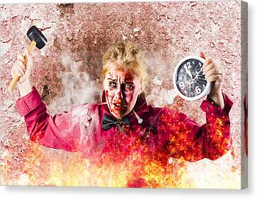Burning Girl Holding Clock And Hammer. Apocalypse Now Canvas Print by Jorgo Photography - Wall Art Gallery