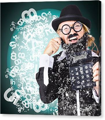 Business Accountant Crying Numbers And Figures Canvas Print by Jorgo Photography - Wall Art Gallery