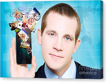 Web Gallery Canvas Print - Business Man Steaming Media Apps On Smart Phone by Jorgo Photography - Wall Art Gallery