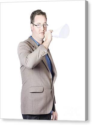 Business Man With Megaphone Canvas Print by Jorgo Photography - Wall Art Gallery