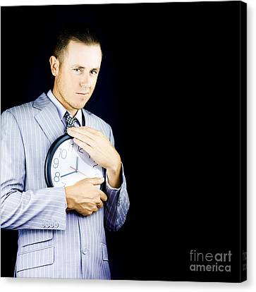 Business Person Hugging Clock Canvas Print by Jorgo Photography - Wall Art Gallery