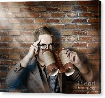 Business Spy Looking Through Innovative Binoculars Canvas Print
