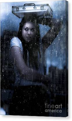 Sombre Canvas Print - Business Woman Caught In Rain And Bad Weather by Jorgo Photography - Wall Art Gallery