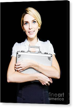 Business Woman Clutching A Metal Briefcase Canvas Print by Jorgo Photography - Wall Art Gallery