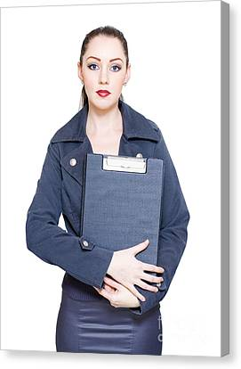 Business Woman Holding Marketing Strategy Document Canvas Print