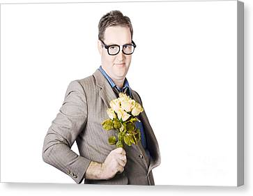 Businessman Holding Bouquet Canvas Print by Jorgo Photography - Wall Art Gallery