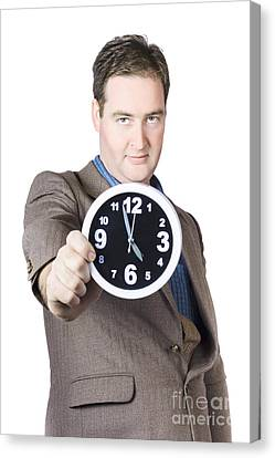 Businessman Showing Clock Canvas Print by Jorgo Photography - Wall Art Gallery