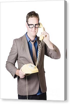 Businessman Talking On Retro Telephone Canvas Print by Jorgo Photography - Wall Art Gallery