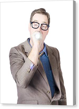 Businessman With Torch Canvas Print