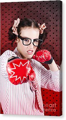 Businesswoman Boxing The Competition With Strategy Canvas Print