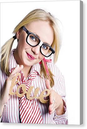 Youthful Canvas Print - Businesswoman With Love Sign by Jorgo Photography - Wall Art Gallery