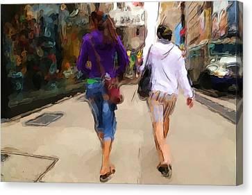 Busy Sidewalks Canvas Print by Karol Livote