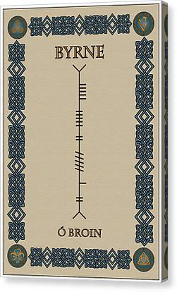 Canvas Print featuring the digital art Byrne Written In Ogham by Ireland Calling