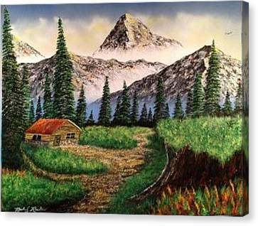Canvas Print featuring the painting Cabin In The Mountains by Michael Rucker
