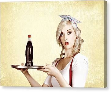 Cafe Bistro Bar Service. Woman With Drinks Tray Canvas Print by Jorgo Photography - Wall Art Gallery