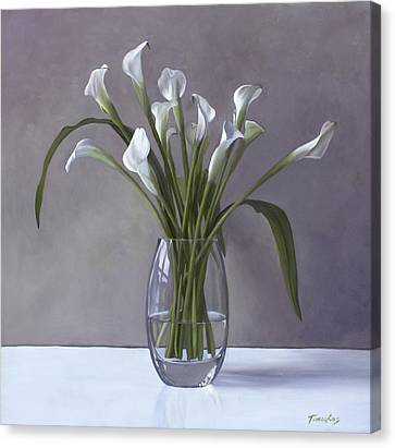 Calla Lilies In A Vase Canvas Print by Linda Tenukas