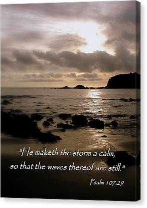 Calm Sea Psalm 107 Canvas Print