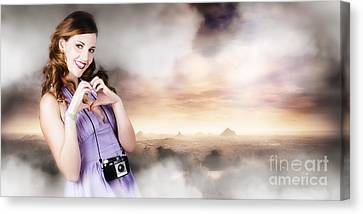 Camera Woman In Love With Taking Landscape Photos  Canvas Print by Jorgo Photography - Wall Art Gallery