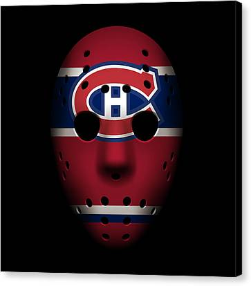 Hockey Canvas Print - Canadiens Goalie Mask by Joe Hamilton