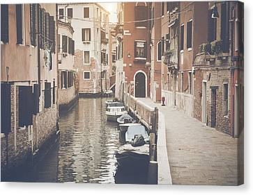 Canal In Venice Italy Applying Retro Instagram Style Filter Canvas Print