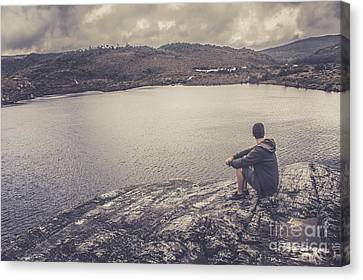 Candid Travel Man At Cradle Mountain Lookout Canvas Print by Jorgo Photography - Wall Art Gallery