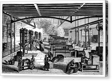 Candle Factory Canvas Print by Science Photo Library