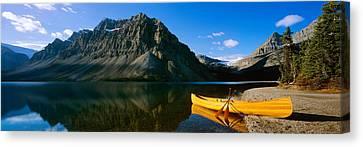 Canoe At The Lakeside, Bow Lake, Banff Canvas Print