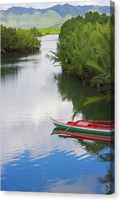 Canoe On The River, Bohol Island Canvas Print by Keren Su