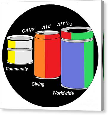 Canvas Print featuring the digital art Cans Aid Africa Community Giving Worldwide by Mudiama Kammoh