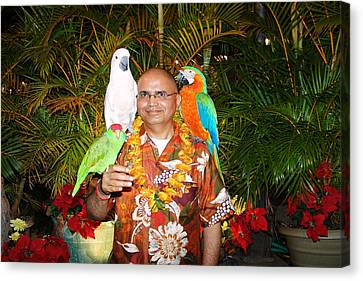 Can't Get Brighter Than This  Artist Navinjoshi In Hawaii Travel Vacations With Trained Parrots By P Canvas Print by Navin Joshi