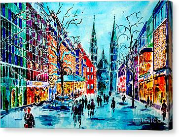 Canvas Print featuring the painting Carolines Shopping Street by Alfred Motzer
