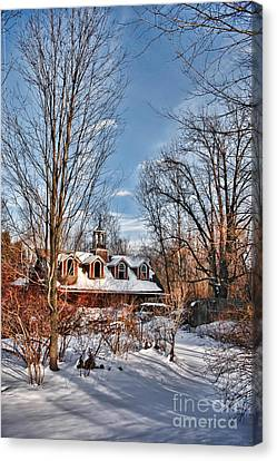 Carriage House In Snow Canvas Print by HD Connelly