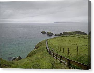 Mystical Landscape Canvas Print - Carrick-a-rede Path Ireland by Betsy Knapp
