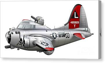 Cartoon Illustration Of A Boeing B-17 Canvas Print by Inkworm