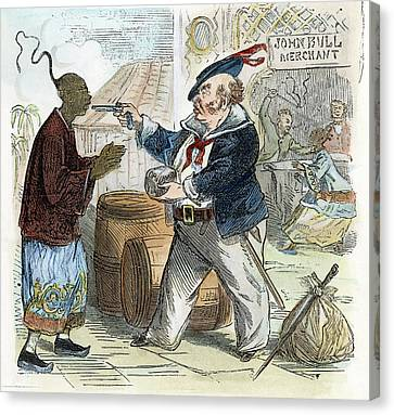 Cartoon Opium War, 1864 Canvas Print by Granger