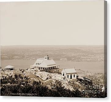 Casino At The Top Of Mt Beacon In Sepia Tone Canvas Print