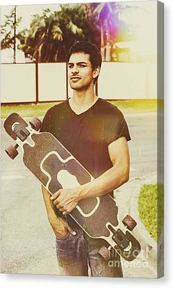 Casual Skateboarder Man With Longboard Skate Deck Canvas Print by Jorgo Photography - Wall Art Gallery