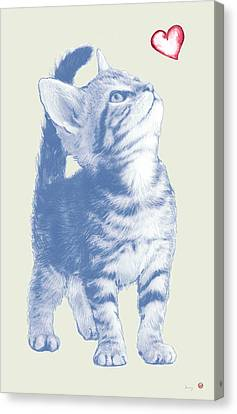 Cat With Love Hart Pop Modern Art Etching Poster Canvas Print by Kim Wang