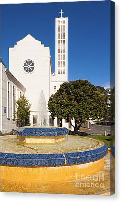 Cathedral And Tait Fountain Napier New Zealand Canvas Print