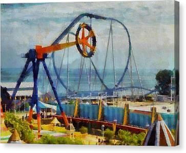 Roller Coaster Canvas Print - Cedar Point Ohio by Dan Sproul