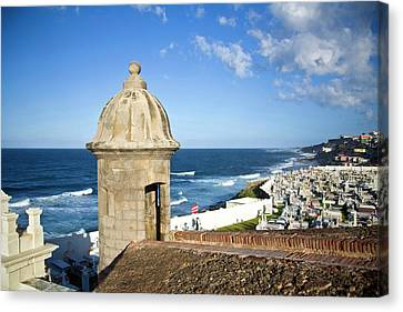 Cemetery And La Perla From El Morro Canvas Print by Miva Stock