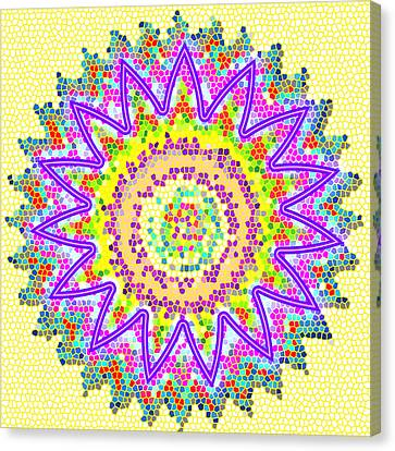Chakra Energy  Mandala Ancient Healing Meditation Tool Stained Glass Pixels  Live Spinning Wheel  Canvas Print by Navin Joshi