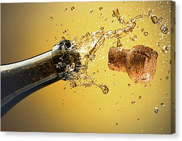 Champagne Bottle And Cork Canvas Print by Ktsdesign