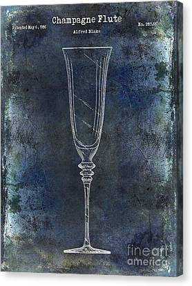 Wine Bottle Canvas Print - Champagne Flute Patent Drawing Blue 2 by Jon Neidert