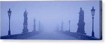 Charles Bridge In Fog, Prague, Czech Canvas Print by Panoramic Images