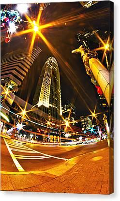 Charlotte Nc Usa  Nightlife Around Charlotte Canvas Print by Alex Grichenko